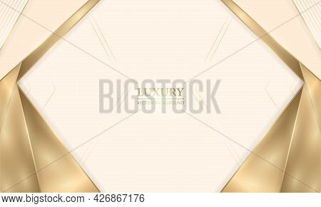 Luxury Cream Shade Elegant Design Realistic Background With Golden Shapes Lines And Shadows. Gold Ar