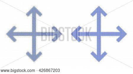 Pixel Halftone Enlarge Arrows Icon. Vector Halftone Concept Of Enlarge Arrows Icon Created Of Spheri