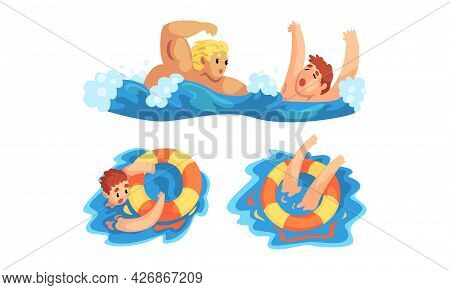 Lifeguard Saving Man, Man Drowning And Raising His Hand For Help Out Of Water, Emergency, Rescue, He