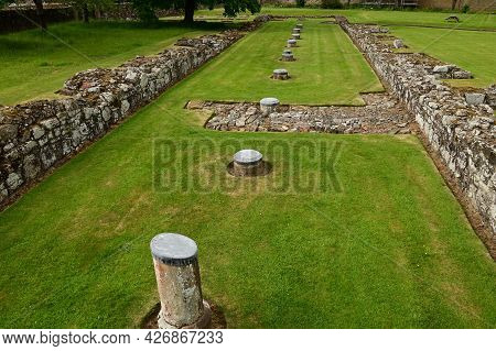 A View Of The Ruins Of The Medieval Abbey Complex At Melrose In The Scottish Borders.