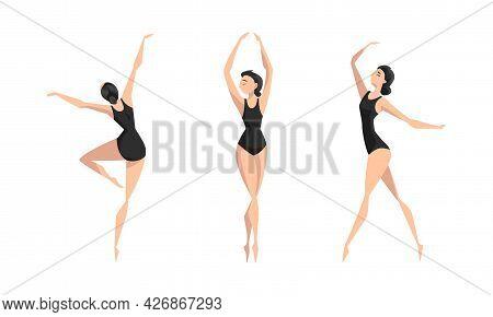 Beautiful Girl Ballet Dancer Dancing In Black Leotard Set, Young Woman Performing Gymnastics Exercis