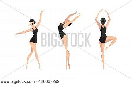 Beautiful Girl Dancing In Black Leotard Set, Young Woman Ballet Dancer Or Gymnast Character Cartoon