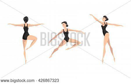Girl Ballet Dancer Performing In Black Leotard Set, Beautiful Young Woman Ballet Dancer Or Gymnast C