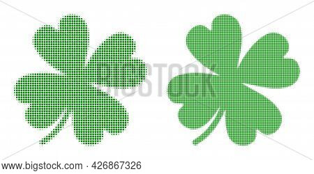 Dotted Halftone Lucky Clover Leaf Icon. Vector Halftone Composition Of Lucky Clover Leaf Icon Combin