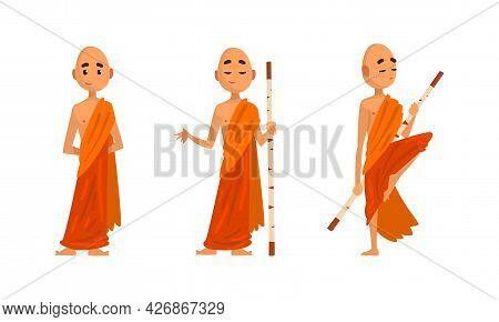 Buddhist Monks In Orange Robes Set, Thai Monks In Different Poses Cartoon Vector Illustration