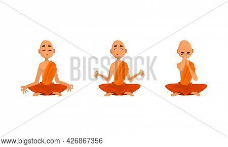 Buddhist Monks In Orange Robes Set, Thai Monks Meditating Cartoon Vector Illustration