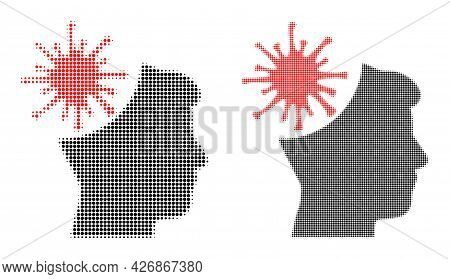 Pixel Halftone Coronavirus Mad Man Icon. Vector Halftone Concept Of Coronavirus Mad Man Icon Formed