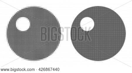 Pixel Halftone Sphere Icon. Vector Halftone Mosaic Of Sphere Icon Done Of Circle Points.