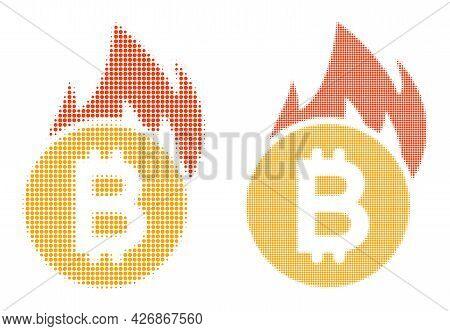Dotted Halftone Burn Bitcoin Icon. Vector Halftone Mosaic Of Burn Bitcoin Icon Made With Spheric Dot