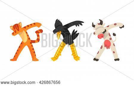 Animals Standing In Dub Dance Pose Set, Tiger, Crow, Cow Doing Dabbing Cartoon Vector Illustration