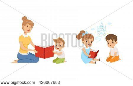 Teacher Reading Book To Kids, Boy And Girl Sitting On Floor And Reading Fairytale Cartoon Vector Ill