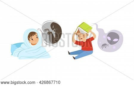 Kids Imagination Concept, Scared Little Boys Reading Horror Book And Hiding From Frightening Ghost U