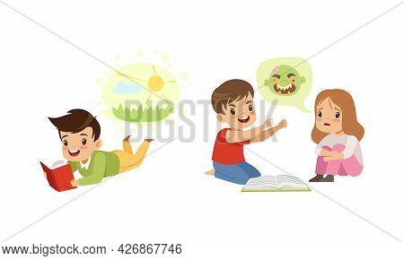 Kids Imagination Concept, Cute Little Children Reading Books Cartoon Style Vector Illustration
