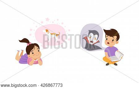 Kids Imagination Concept, Little Boy Reading Scary Book, Girl Dreaming Of Dog Cartoon Style Vector I