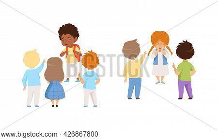 Bullying At School Concept, Boys And Girls Mocking Classmates, Violent Behavior Among Elementary Sch
