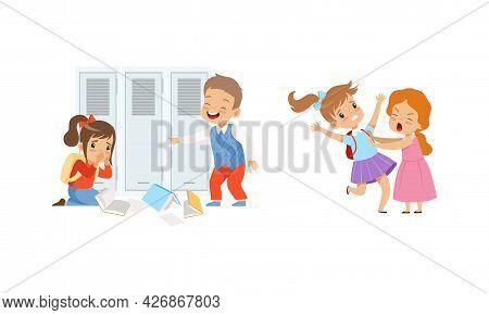 Bullying At School Concept, Boys And Girls Mocking Classmates And Fighting Cartoon Vector Illustrati