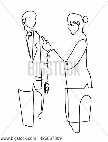 One Line Drawing Of Manager Woman Accuse Employee. One Continuous Line Drawing Of Woman  Accuse Dump