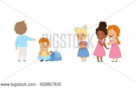 Bullying At School Concept, School Girls Laughing And Pointing At Sad Girl, Boy Pointing At Upset Bo