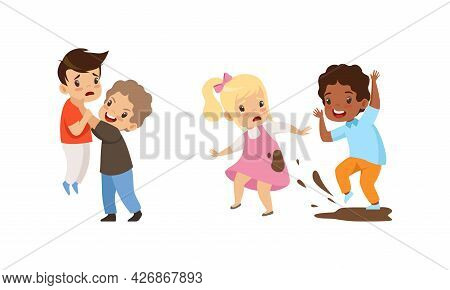 Bullying At School Concept, Angry Little Boys And Girls Fighting Each Other Cartoon Vector Illustrat