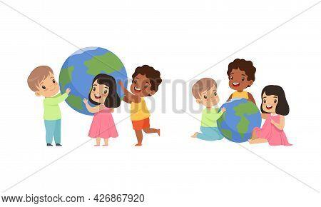 Little Kids Holding Earth Globe, Friendship, Unity, Earth Planet Protection Cartoon Vector Illustrat