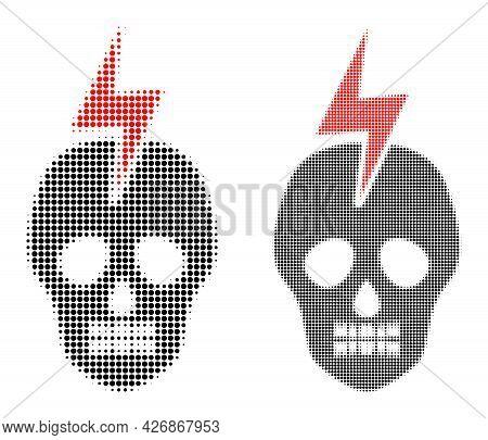 Pixelated Halftone Mortal Electricity Icon. Vector Halftone Pattern Of Mortal Electricity Icon Forme
