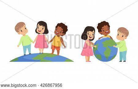 Friendship, Unity, Earth Planet Protection, Happy Kids Holding Hands Together Around The World Carto