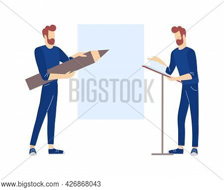 Two Men Perform Presentation Or Business Training. Teaching And Learning Of Adult Concept. Adult Cha