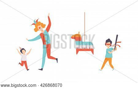 Kids Celebrating Birthday Set, Children Having Fun With Clown And Breaking Pinata With Baseball Bat