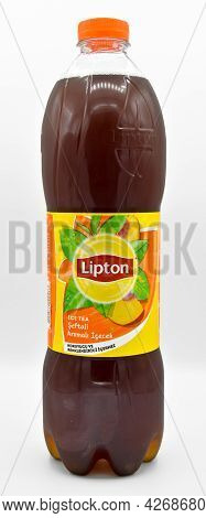 Lipton Ice Tea Peach Flavored Still Drink, Isolated On White Background, Istanbul Turkey March 09 20