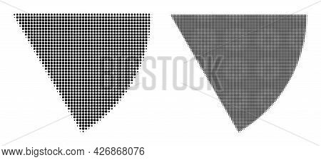 Dot Halftone Circle Sector Icon. Vector Halftone Pattern Of Circle Sector Icon Organized Of Spheric