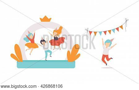 Kids Having Fun At Birthday Party Set, Children Jumping On Inflatable Trampoline Cartoon Vector Illu