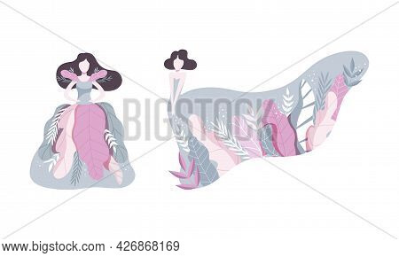 Beautiful Brunette Women In Long Dress Decorated With Plants And Flowers Set Vector Illustration