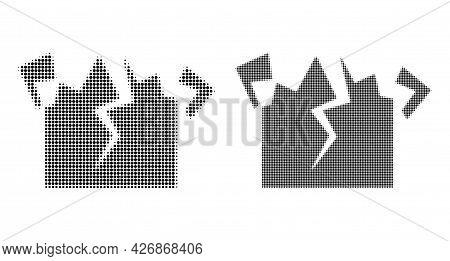 Pixel Halftone Destruction Icon. Vector Halftone Collage Of Destruction Icon Designed With Spheric D