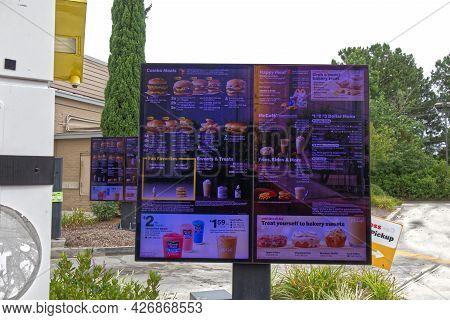 Columbia County, Ga Usa - 07 11 21: Mcdonalds Drive Thru Digital Menu - Columbia Road