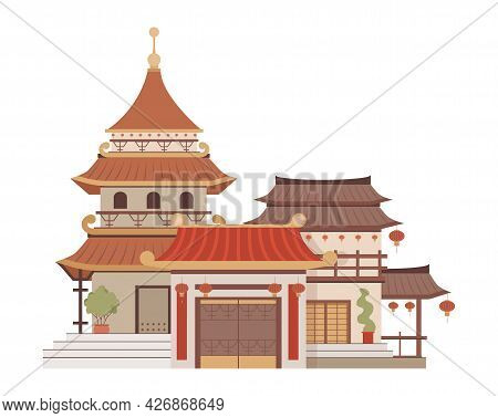 Traditional Chinese Architecture Vector Flat Illustration Isolated On White. Beautiful And Colorful