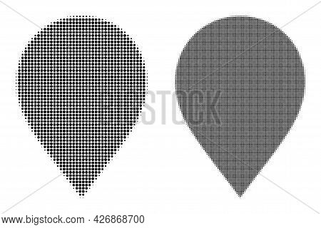 Pixelated Halftone Map Marker Icon. Vector Halftone Mosaic Of Map Marker Pictogram Made Of Circle Do