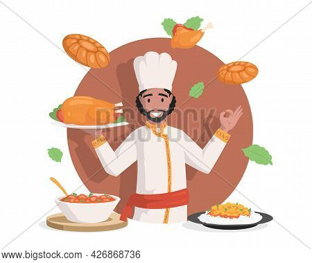 Chef In Indian Clothes Vector Flat Illustration. Tasty Delicious Indian Cuisine, Chicken Stew, Stuff