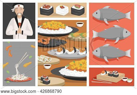 Tasty Traditional Japanese Food Vector Flat Illustration. Fresh Sushi And Rolls With Shrimps, Salmon