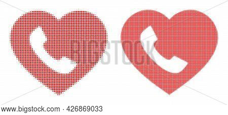 Pixelated Halftone Favourite Phone Icon. Vector Halftone Mosaic Of Favourite Phone Icon Designed Fro