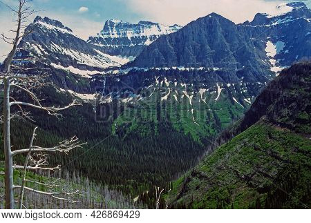 Summer Snow On Spectacular Peaks Near Logan Pass In Glacier National Park In Montana