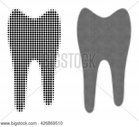 Pixel Halftone Tooth Icon. Vector Halftone Composition Of Tooth Icon Composed Of Spheric Items.