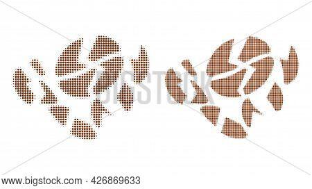 Dot Halftone Coffee Bean Destruction Icon. Vector Halftone Mosaic Of Coffee Bean Destruction Icon Fo