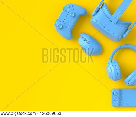 Top View Of Monochrome Blue Gamer Gears Like Mouse, Keyboard, Joystick, Vr Glasses And Headphones On