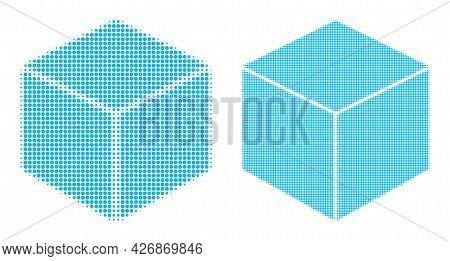Pixelated Halftone Sugar Cube Icon. Vector Halftone Pattern Of Sugar Cube Icon Done Of Round Element