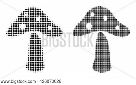 Pixelated Halftone Toxic Mushroom Icon. Vector Halftone Pattern Of Toxic Mushroom Icon Formed Of Cir