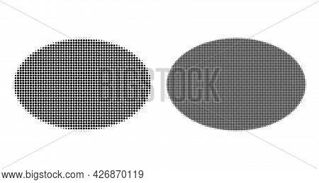 Dot Halftone Ellipse Icon. Vector Halftone Concept Of Ellipse Icon Formed Of Spheric Pixels.