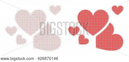 Dotted Halftone Love Hearts Icon. Vector Halftone Pattern Of Love Hearts Icon Done With Spheric Poin