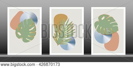 Botanical Wall Art Vector Set. Golden Foliage Line Art Drawing With Abstract Shape, Gold Abstract Pl
