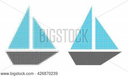 Dotted Halftone Yacht Icon. Vector Halftone Concept Of Yacht Symbol Composed Of Circle Pixels.