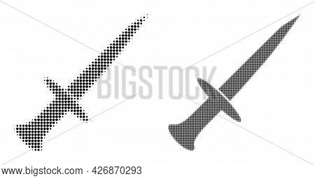 Pixel Halftone Sword Icon. Vector Halftone Pattern Of Sword Icon Created Of Circle Elements.